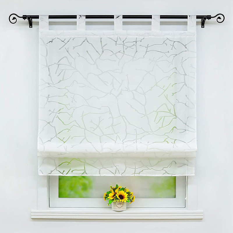 Modern Crack Pattern Breathable Roman Sheer Shades for Cabinet and Kitchen Window