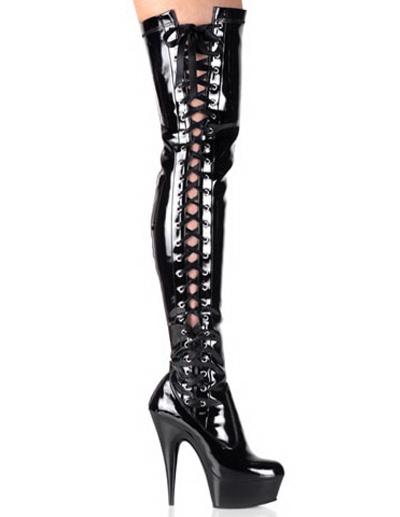 Milanoo Botas de charol negro con cordones y plataforma de tacon alto de 14.5 cm