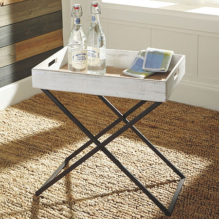 Signature Design by Ashley Janfield Chairside Table, One Size , White