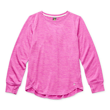Xersion Little & Big Girls Round Neck Long Sleeve Tunic Top, Small (7-8) , Pink