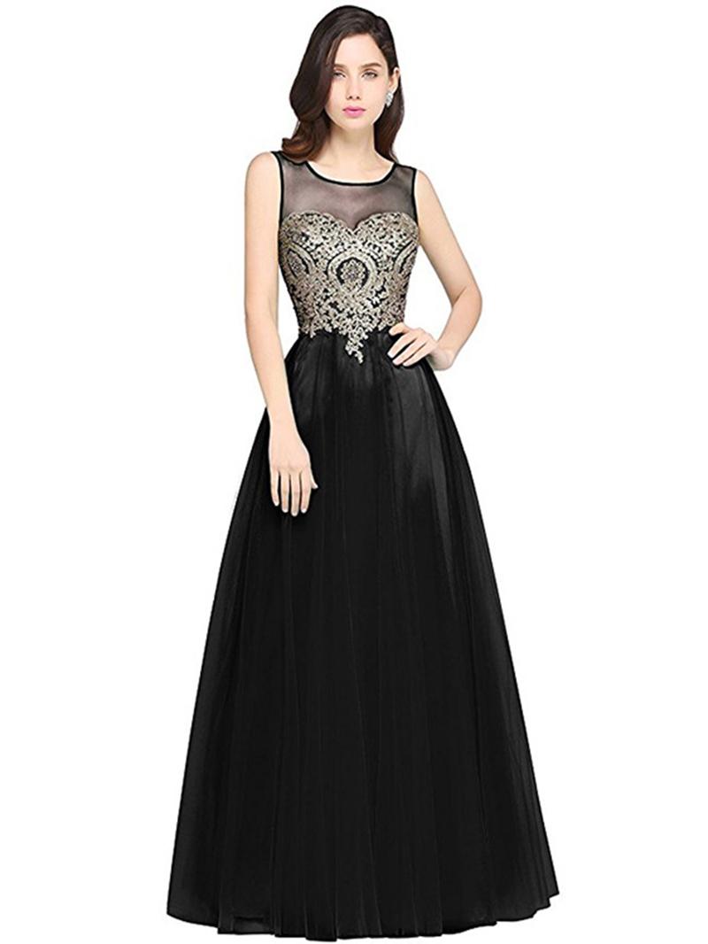 Ericdress Mesh Expansion Floor-Length Maxi Dress