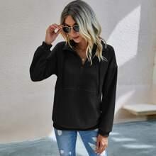 Zip Half Drawstring Solid Sweatshirt