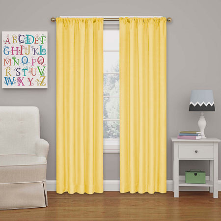 Eclipse Kids' Kendall Rod-Pocket Blackout Curtain Panel, One Size , Yellow