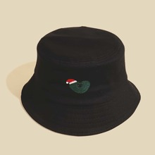 Men Christmas Hat Embroidery Bucket Hat