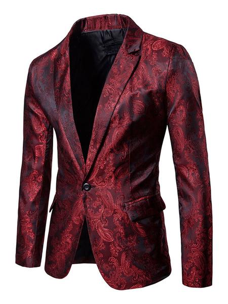 Milanoo Blazer casual de hombre 2020 saten Jacquard borgoña cuello en V chaqueta de primavera