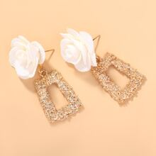 Flower Decor Textured Square Drop Earrings