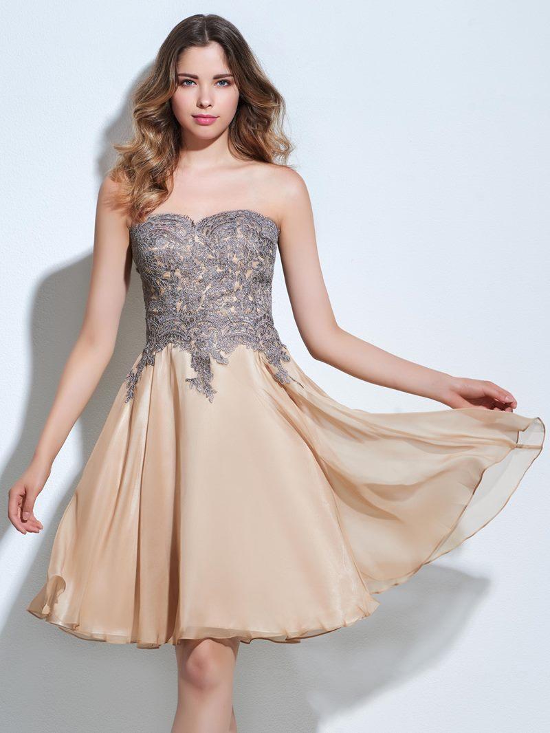 Ericdress A-Line Sweetheart Appliques Zipper-Up Knee-Length Cocktail Dress