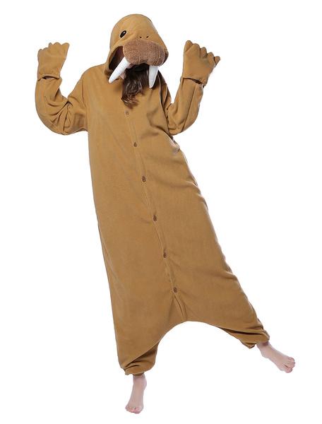 Milanoo Brown Kigurumi Pajama Sea Elephant Unisex Flannel Adult Winter Sleepwear Animal Costume Halloween