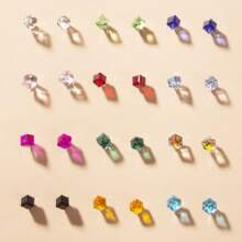 12pairs Crystal Design Cube Stud Earrings
