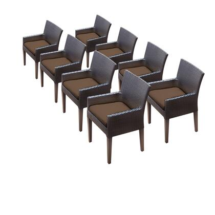 TKC097b-DC-4x-C-COCOA 8 Napa Dining Chairs With Arms with 2 Covers: Wheat and