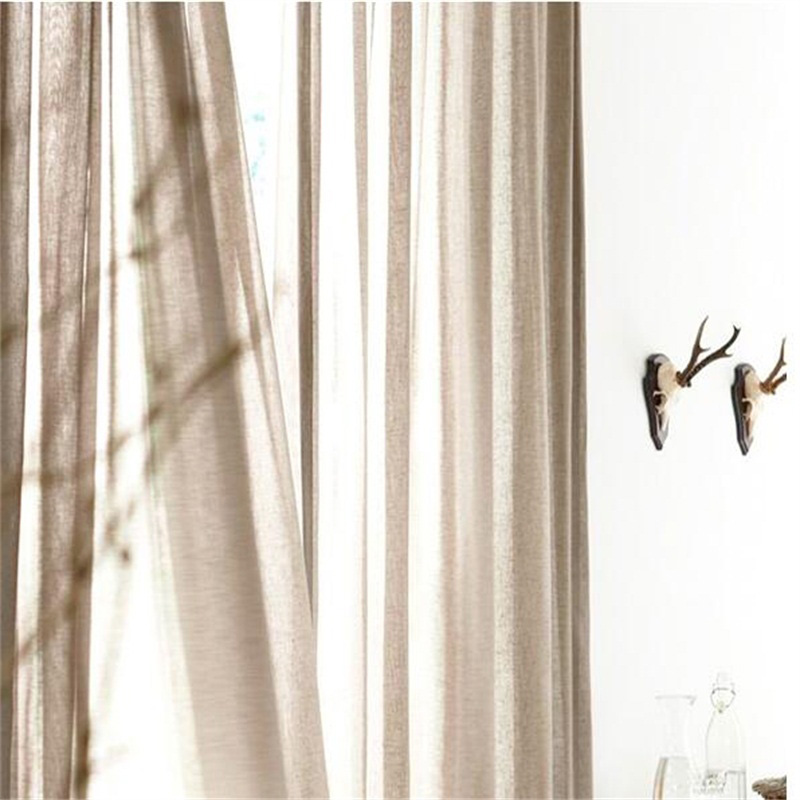 Romantic and Modern White Cotton Custom Sheer Curtain for Living Room