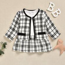 Toddler Girls Plaid Smock Dress & Jacket
