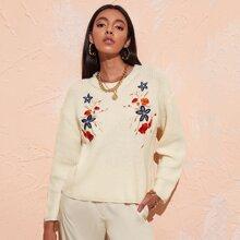 Floral Embroidered Drop Shoulder Sweater