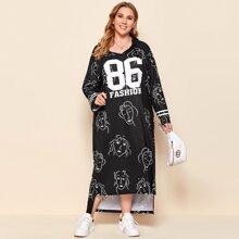 Kleid mit sehr tief angesetzter Schulterpartie, Buchstaben und Figur Grafik, abfallendem Saum und Kapuze