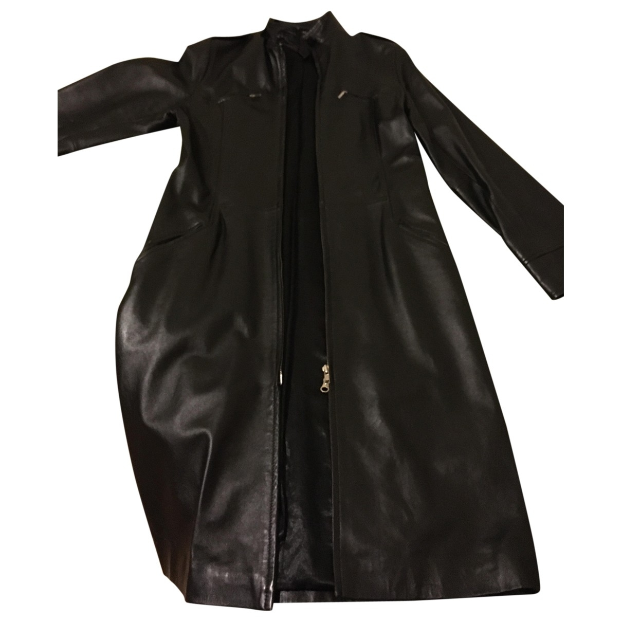 Non Signé / Unsigned \N Black Leather coat for Women 44 IT