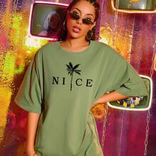 Tropical & Letter Graphic Oversized Tee
