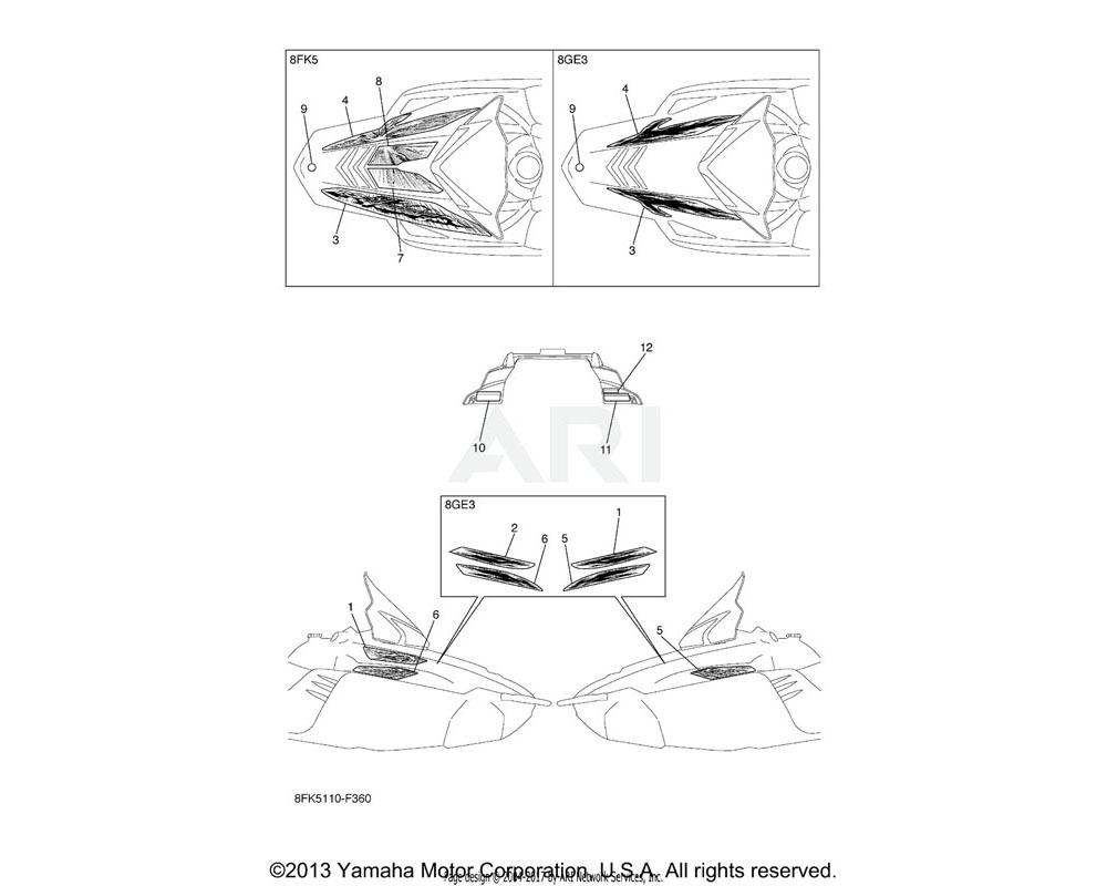 Yamaha OEM 8FK-7711C-00-00 GRAPHIC 3