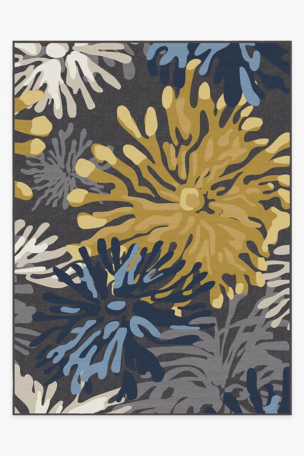 Washable Rug Cover & Pad | Genevieve Floral Grey Rug | Stain-Resistant | Ruggable | 9x12