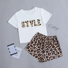 Letter And Leopard Pajama Set