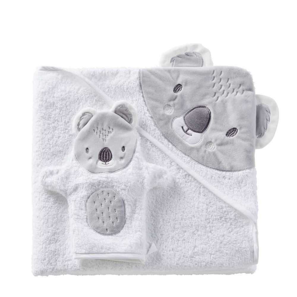 Babybadetuch aus Baumwolle, weiss und grau 100x100