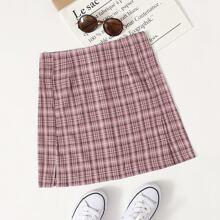 Tartan Print Split Hem Zipper Back Skirt
