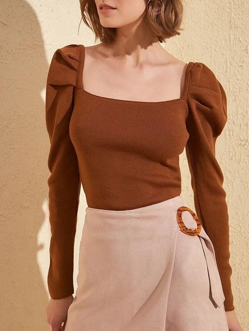 Ericdress Thin Pleated Long Sleeve Fall Sweater