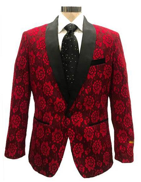 Mens One Button Red ~ Black Blazer