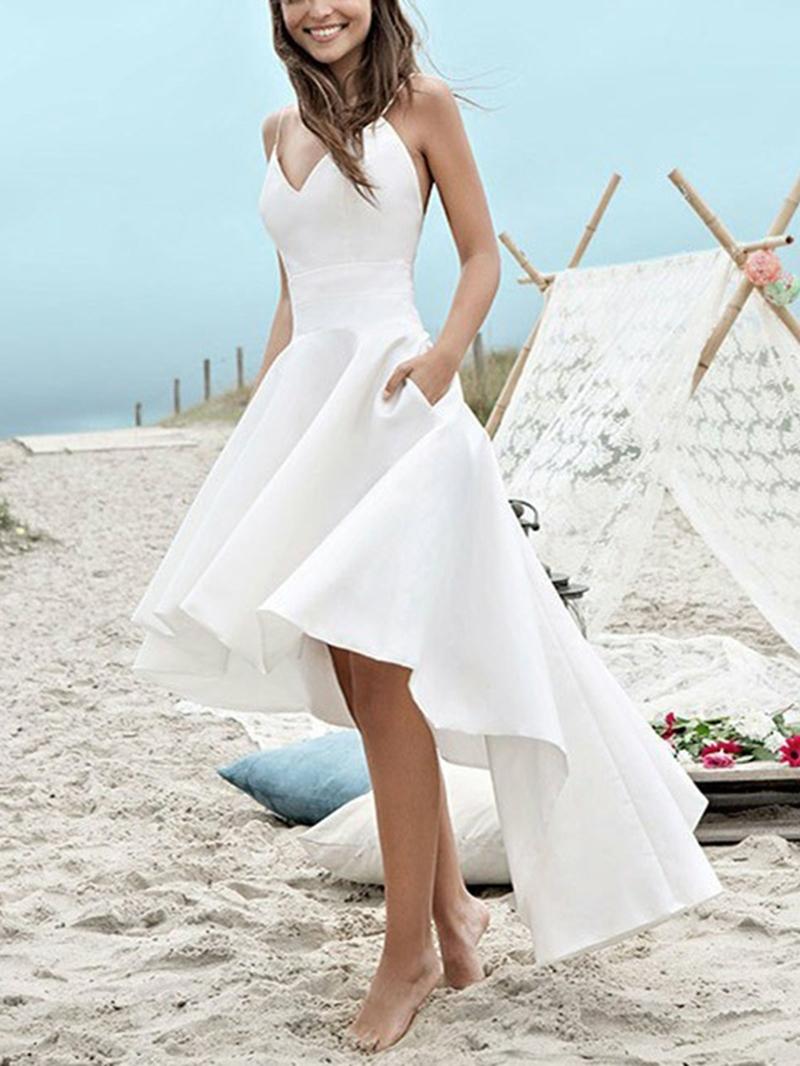 Ericdress High Low Spaghetti Straps Pockets Beach Wedding Dress