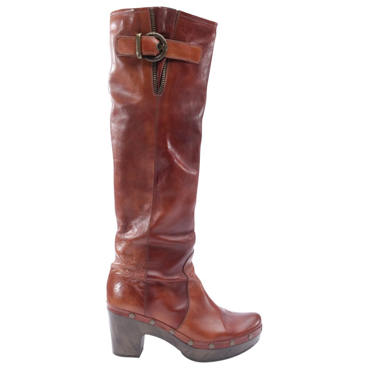 Stuart Weitzman N Brown Leather Boots for Women 40 EU