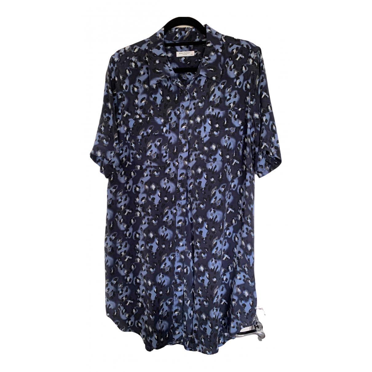 Equipment - Robe   pour femme en soie - bleu