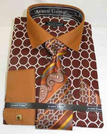 Mens Brown Honey French Cuff With Collar Cotton Dress Shirt