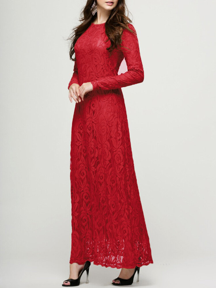 Lace Double-layer Long Sleeve O-neck Maxi Dress
