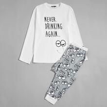 Conjunto de pijama top con estampado de dibujos animados y slogan con pantalones