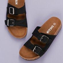 Double Buckle Cork Footbed Slide Sandals