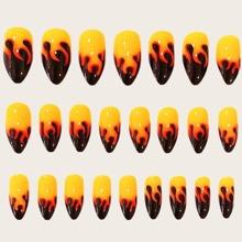 24pcs Fire Pattern False Nail & 1sheet Tape