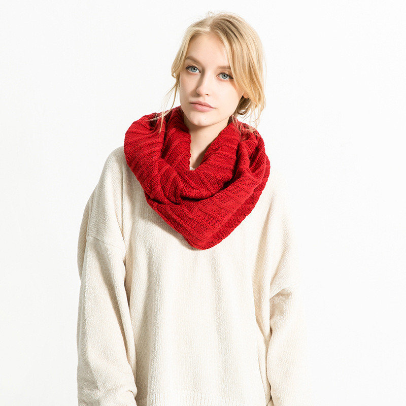 Women Vertical Stripes Thick Knitted O-ring Collar Scarves Solid Warm Crochet Scarf
