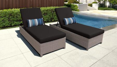 Monterey Collection MONTEREY-W-2x-BLACK Set of 2 Chaises - Beige and Black