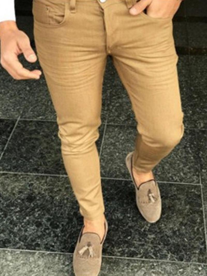 Ericdress Pencil Pants Plain Mid Waist Zipper Casual Pants