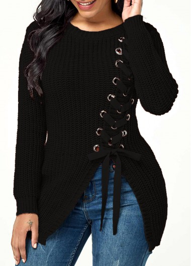 Women'S Black Rib Knit Lace Up Asymmetric Hem Casual Sweater Solid Color Long Sleeve Winter Top By Rosewe - M