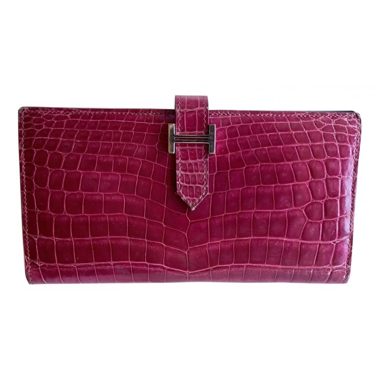 Hermes - Portefeuille   pour femme en alligator - rose