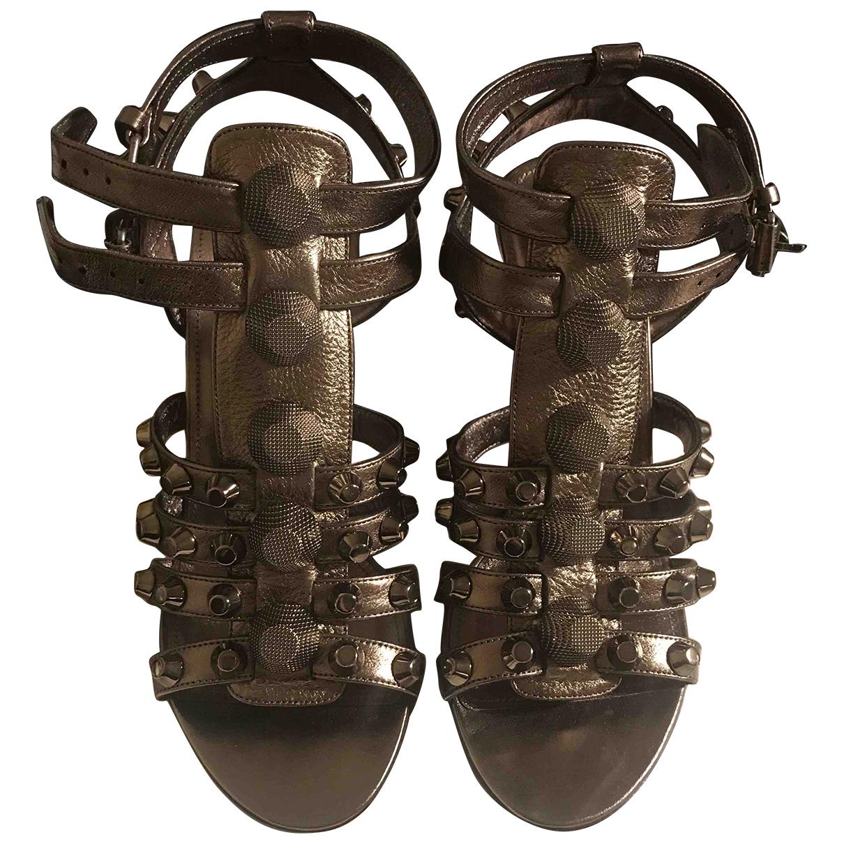 Balenciaga N Silver Leather Sandals for Women 36.5 EU