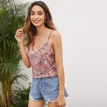 Double V-neck Floral Print Cami Top