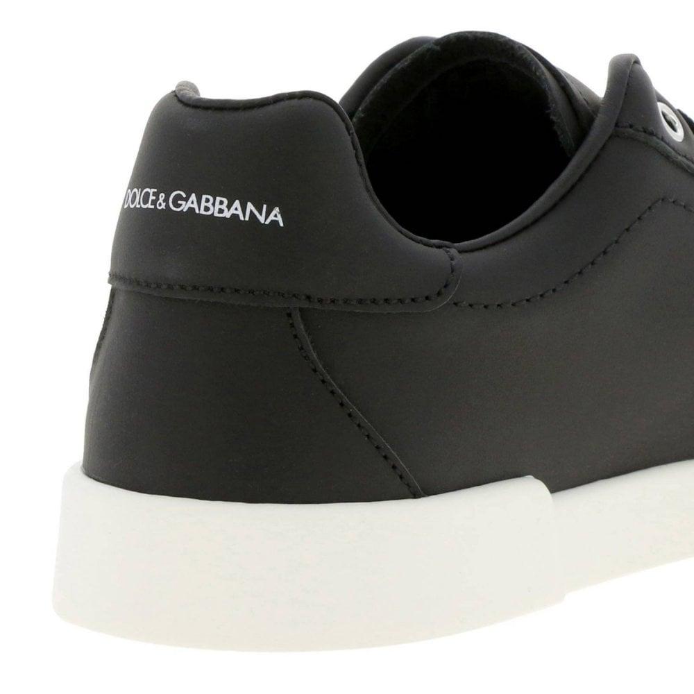 Dolce & Gabbana Black Leather Trainers Colour: BLACK, Size: 33