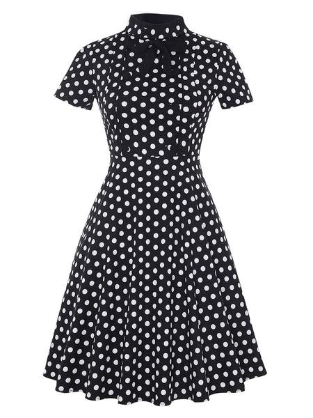 Milanoo Vestido vintage de manga corta con traje de niña de los años 50
