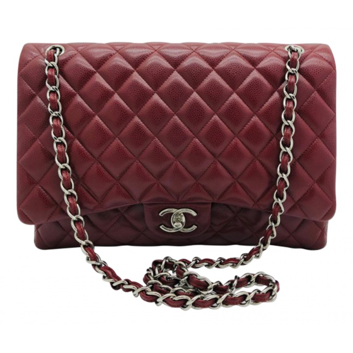 Chanel Timeless/Classique Handtasche in  Bordeauxrot Leder