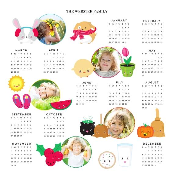 Calendar 12x12 Metal Panels, Home Décor -Joy Emoji