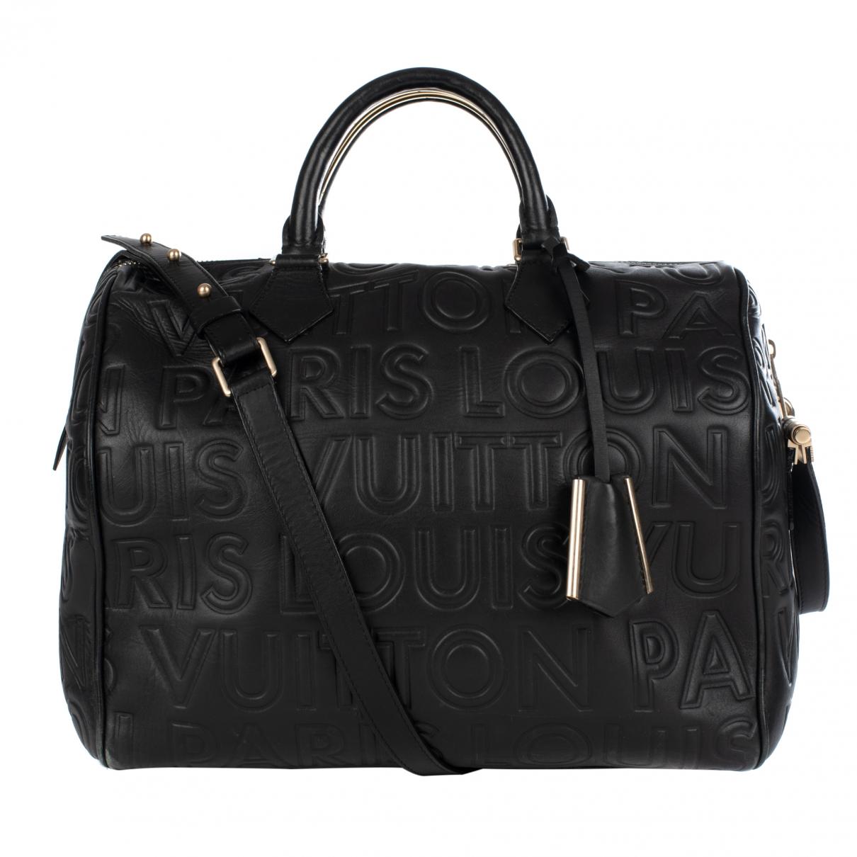 Louis Vuitton - Sac a main Speedy pour femme en cuir - noir