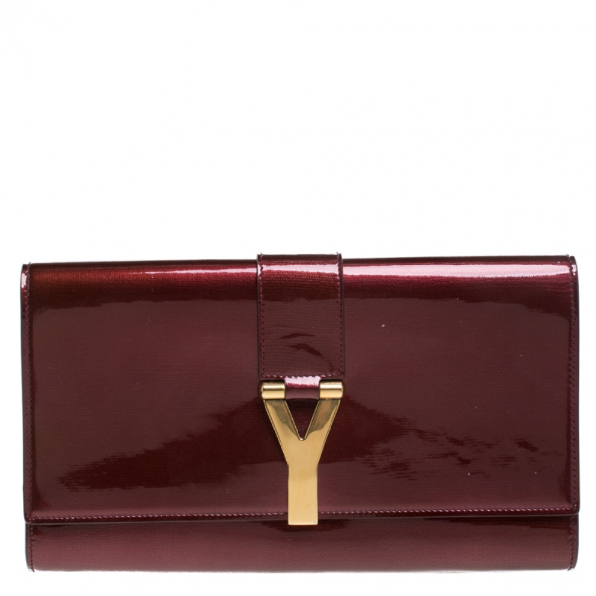 Saint Laurent Chyc Burgundy Patent leather Clutch bag for Women \N