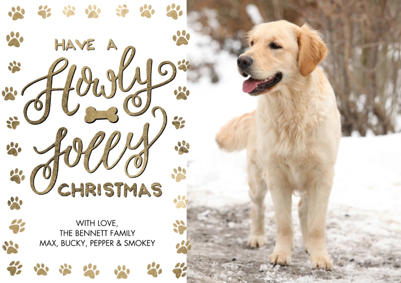 Christmas Photo Cards Flat Matte Photo Paper Cards with Envelopes, 5x7, Card & Stationery -Christmas Paw Print Festive by Tumbalina