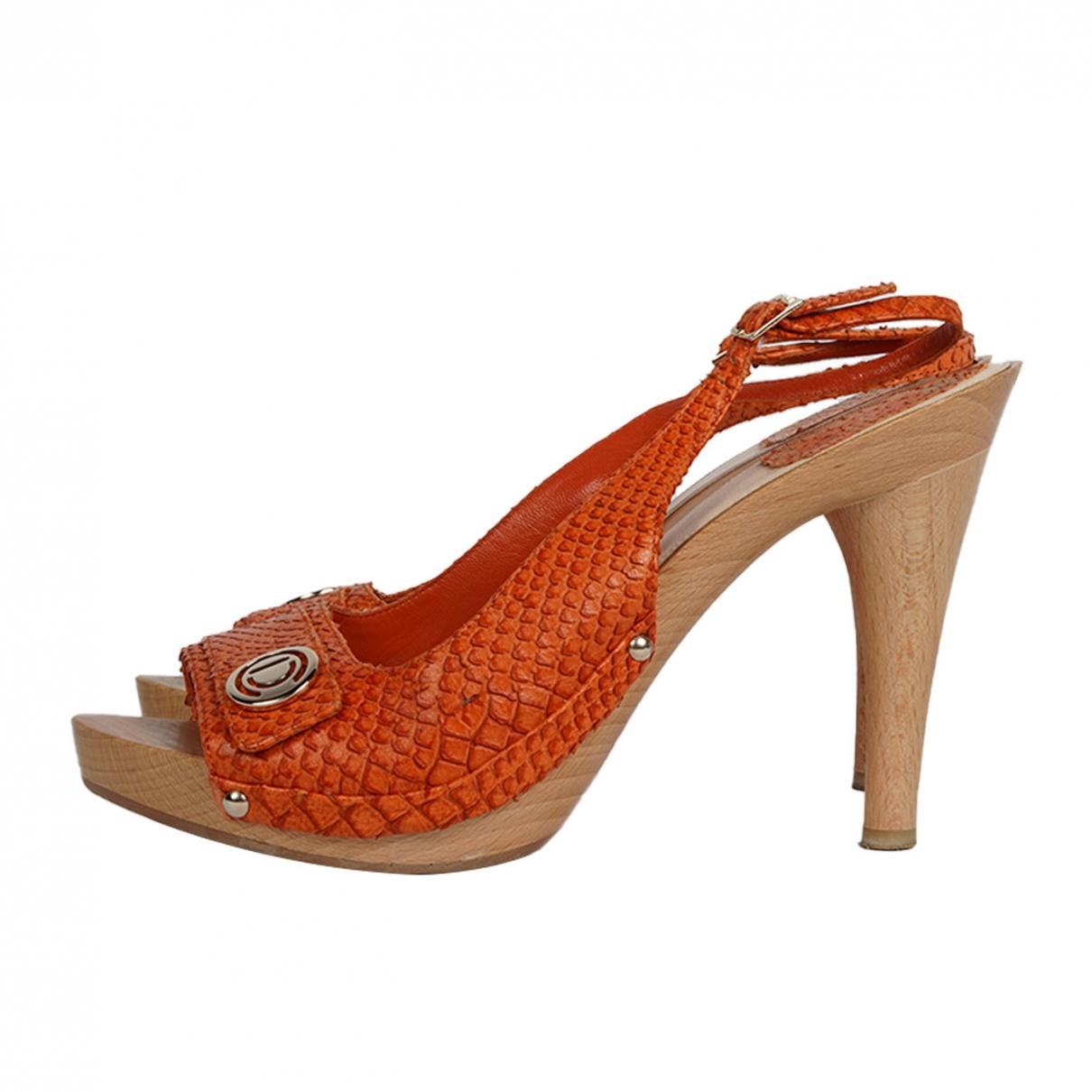 Dior - Sandales   pour femme en python - orange